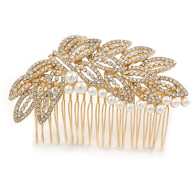 Oversized Bridal/ Wedding/ Prom/ Party Gold Plated Crystal, Pearl Leaf Hair Comb - 90mm W
