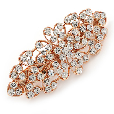 Bridal Wedding Prom Rose Gold Tone Filigree Diamante Floral Barrette Hair Clip Grip - 80mm Across