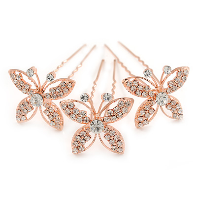Bridal/ Wedding/ Prom/ Party Set Of 3 Rose Gold Tone Clear Austrian Crystal Butterfly Hair Pins - main view