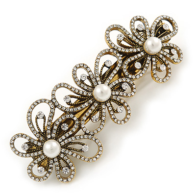 Vintage Inspired Antique Gold Open Cut Clear Crystal, White Glass Pearl Flower Barrette Hair Clip Grip - 85mm Across