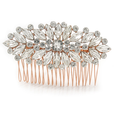 Bridal/ Wedding/ Prom/ Party Art Deco Style Rose Gold Tone Austrian Crystal Hair Comb - 90mm W