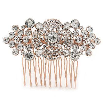 Bridal/ Wedding/ Prom/ Party Rose Gold Tone Clear Crystal Floral Hair Comb - 65mm