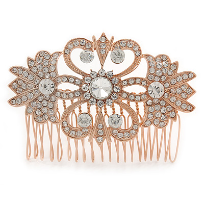 Bridal/ Wedding/ Prom/ Party Art Deco Style Rose Gold Tone Austrian Crystal Hair Comb - 80mm W