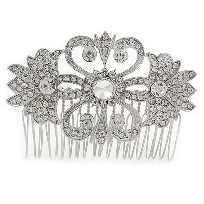Bridal/ Wedding/ Prom/ Party Art Deco Style Rhodium Plated Austrian Crystal Hair Comb - 80mm W