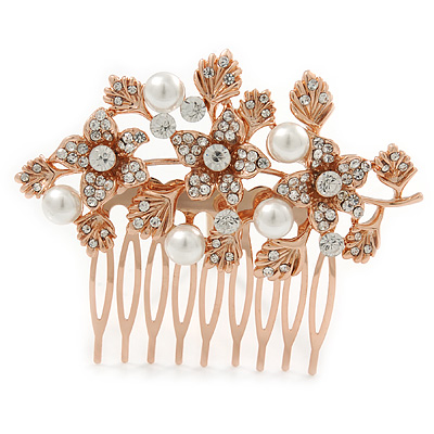 Bridal/ Wedding/ Prom/ Party Rose Gold Tone Clear Crystal, Simulated Pearl Floral Hair Comb - 75mm