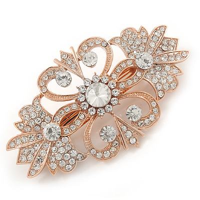 Bridal/ Wedding/ Prom/ Party Art Deco Style Rose Gold Tone Austrian Crystal Barrette Hair Clip Grip - 80mm Across