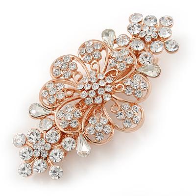 Medium Rose Gold Tone Filigree Diamante Floral Barrette Hair Clip Grip - 70mm Across