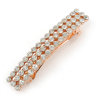 Classic Clear Crystal Square Barrette Hair Clip Grip In Rose Gold Plated Metal - 80mm Across - main view