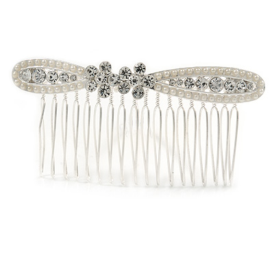Bridal/ Wedding/ Prom/ Party Silver Tone Clear Austrian Crystal Bow Side Hair Comb - 80mm