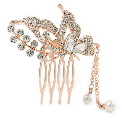 Bridal/ Wedding/ Prom/ Party Rose Gold Tone Clear Austrian Crystal Butterly with Dangles Side Hair Comb - 55mm