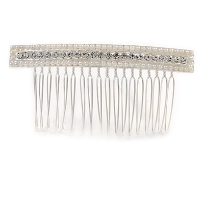 Bridal/ Wedding/ Prom/ Party Silver Plated Clear Crystal, Cream Faux Pearl Square Hair Comb - 85mm