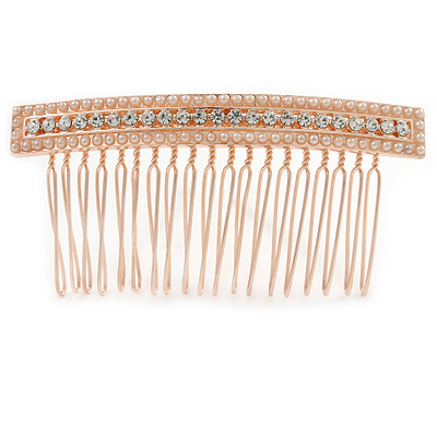 Bridal/ Wedding/ Prom/ Party Rose Gold Tone Clear Crystal, Cream Faux Pearl Square Hair Comb - 85mm