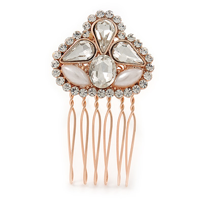 Mini Bridal/ Prom/ Party Faux Pearl  Clear Glass Stone Side Hair Comb In Rose Gold Tone Metal - 30mm Across