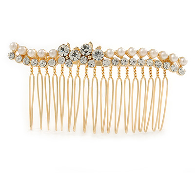 Bridal/ Wedding/ Prom/ Party Gold Tone Clear Crystal, Simulated Pearl, Double Butterfly Floral Hair Comb - 80mm