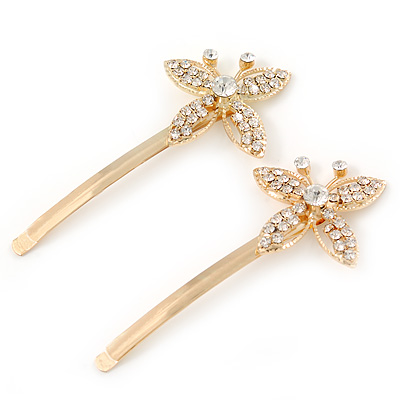 2 Bridal/ Prom Crystal Butterfly Hair Grips/ Slides In Gold Plating - 70mm Across - main view