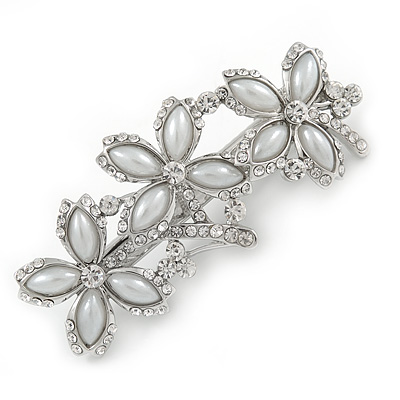 Vintage Inspired Triple Flower Crystal, Faux Pearl Hair Beak Clip/ Concord Clip In Silver Tone  - 70mm L - main view