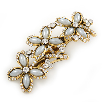 Vintage Inspired Triple Flower Crystal, Faux Pearl Hair Beak Clip/ Concord Clip In Antique Gold Tone - 70mm L
