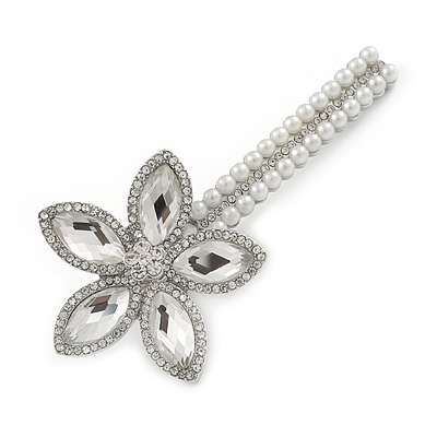 Large Glass Pearl, Clear Crystal Flower Hair Beak Clip/ Concord Clip In Rhodium Plated Metal - 90mm L
