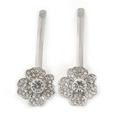 2 Bridal/ Prom Clear Crystal Flower Hair Grips/ Slides In Rhodium Plated Metal - 60mm Across