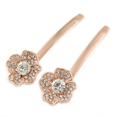 2 Bridal/ Prom Clear Crystal Flower Hair Grips/ Slides In Rose Gold Tone - 60mm Across - main view