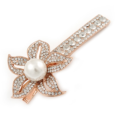 Large Glass Pearl, Clear Crystal Flower Hair Beak Clip/ Concord Clip In Rose Gold Tone - 85mm L