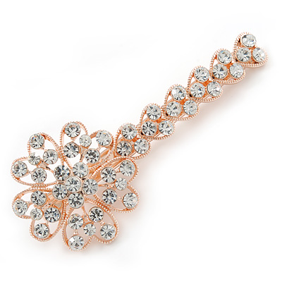 Large Clear Crystal Flower Hair Beak Clip/ Concord Clip In Rose Gold Tone - 90mm L