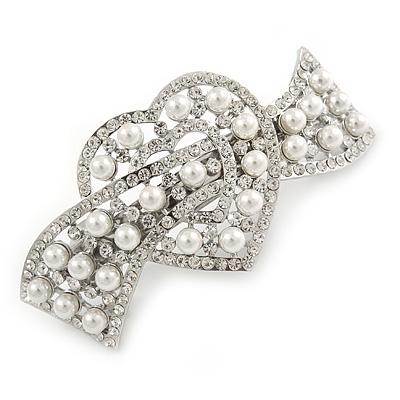 Bridal Wedding Prom Silver Tone Glass Pearl, Crystal Heart Barrette Hair Clip Grip - 90mm W