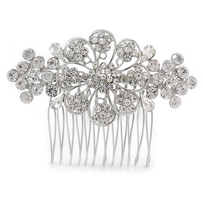 Bridal/ Wedding/ Prom/ Party Silver Tone Clear Austrian Crystal Floral Side Hair Comb - 75mm