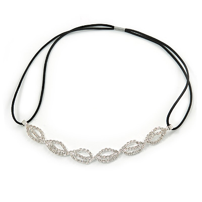 Fancy Pattern Clear Crystal Elastic Hair Band/ Elastic Band/ Headband - 47cm L (not stretched)