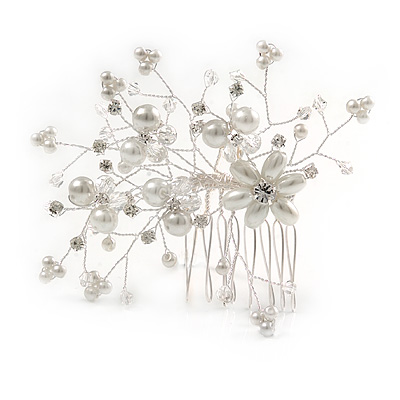 Handmade Bridal/ Wedding/ Prom/ Party Silver Tone Clear Crystal Faux Glass Pearl Flower and Butterfly Side Hair Comb - 90mm