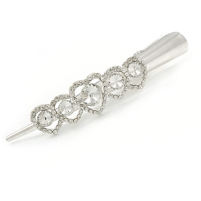 Bridal/ Prom/ Wedding Rhodium Plated Clear Clear Crystal Multi Heart Hair Beak Clip/ Concord Clip - 13cm L