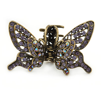 Vintage Inspired Purple Crystal Butterfly with Mobile Wings Hair Claw In Antique Gold Tone - 85mm Across