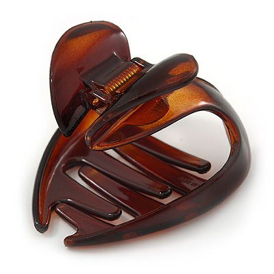 Medium Butterfly Brown Acrylic Hair Claw - 50mm Width