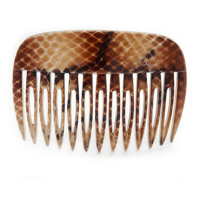 Snake Print Polished Acrylic Hair Comb (Brown/ Beige) - 75mm