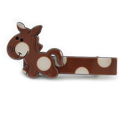 Children's/ Teen's / Kid's Brown/ White Donkey Acrylic Hair Beak Clip/ Concord Clip/ Clamp Clip In Silver Tone - 50mm L