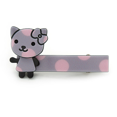 Children's/ Teen's / Kid's Lavender/ Pink Kitty Acrylic Hair Beak Clip/ Concord Clip/ Clamp Clip In Silver Tone - 50mm L