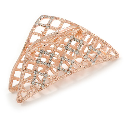 Large Crystal Square Pattern Hair Claw In Rose Gold Plating - 90mm Across
