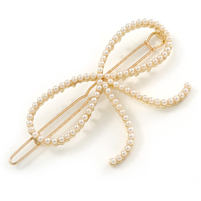 Gold Plated Faux Pearl Open Bow Hair Slide/ Grip - 60mm Across - main view