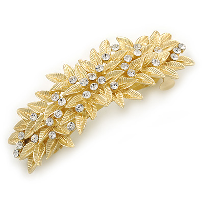 Bright Gold Tone Matt Diamante Leaf Barrette Hair Clip Grip - 80mm Across