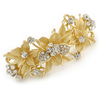 Bright Gold Tone Matt Diamante Flower Barrette Hair Clip Grip - 80mm Across
