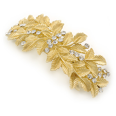 Bright Gold Tone Matt Diamante Leaf Barrette Hair Clip Grip - 90mm Across