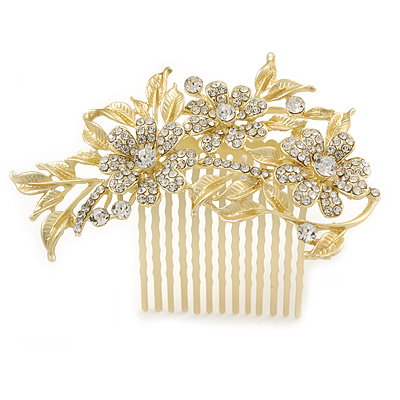 Bridal/ Wedding/ Prom/ Party Satin Matte Gold Tone Clear Crystal Daisy Floral Hair Comb - 90mm
