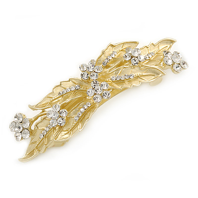 Bright Gold Tone Matt Diamante Leaves & Flowers Barrette Hair Clip Grip - 95mm Across