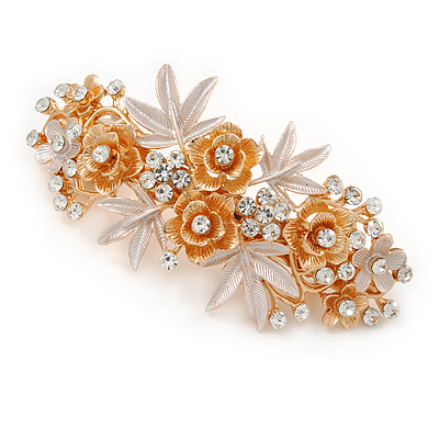 Large Two Tone Diamante Rose & Daisy Floral Barrette Hair Clip Grip (Rose Gold/ Matt Silver Tone) - 10cm Across