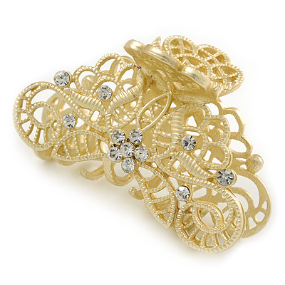 Medium Clear Crystal Floral Filigree Hair Claw In Matte Gold Tone - 70mm Across