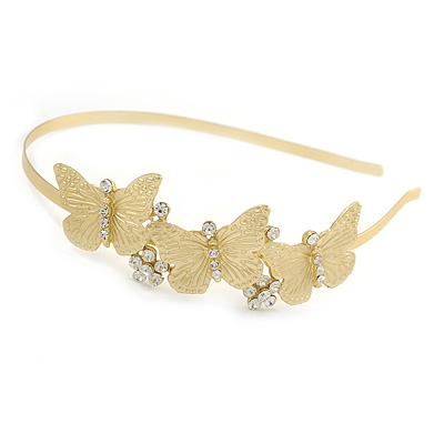Party/ Prom/ Wedding Brushed Gold Tone Clear Crystal Triple Butterfly Tiara Headband - Flex