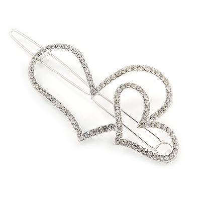 Silver Plated Clear Crystal Open Double Heart Hair Slide/ Grip - 75mm Across