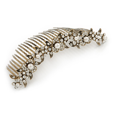 Large Vintage Inspired Clear Austrian Crystal White Glass Pearl Hair Comb In Gold Tone - 11cm - main view