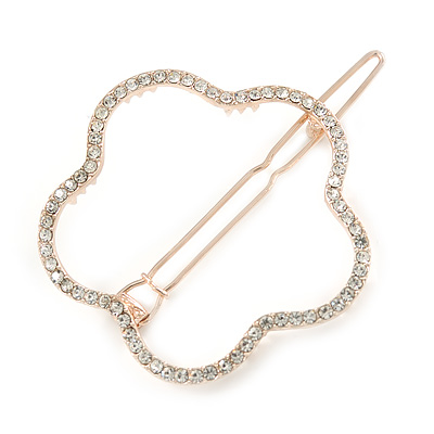 Rose Gold Tone Metal Clear Crystal Open Flower Hair Slide/ Grip - 60mm Across - main view