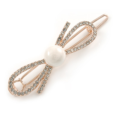 Small Rose Gold Tone Clear Crystal White Glass Bead Open Bow Hair Slide/ Grip - 50mm Across - main view